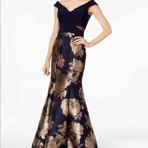 XSCAPE Printed Mermaid Gown